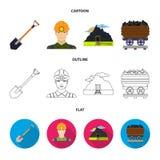 铁锹,矿工,对矿,有煤炭的一辆台车的一个入口 在动画片,概述,平的样式的矿集合汇集象 免版税图库摄影