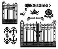 锻铁门和装饰 免版税库存图片