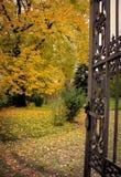 铁门在秋天公园 免版税库存照片