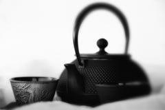 铁龙茶杯和茶罐 库存照片