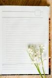 铃兰分支在笔记本的 免版税图库摄影