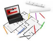 铅笔、住房建造计划计划膝上型计算机和图纸  3D rende 免版税图库摄影
