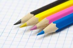 铅笔。 CMYK 免版税库存照片