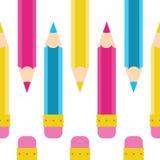 铅笔乱画无缝的传染媒介样式 动画片,黄色,桃红色,蓝色,深蓝 库存例证