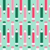铅笔乱画无缝的传染媒介样式 动画片,绿色,洋红色,深蓝 库存例证