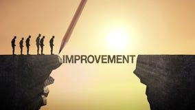 铅笔写'改善',连接峭壁 横渡峭壁,企业概念的商人 库存例证