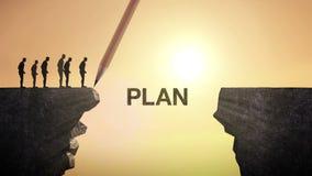 铅笔写'计划',连接峭壁 横渡峭壁,企业概念的商人 向量例证