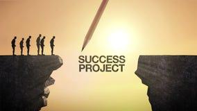 铅笔写`成功项目`,连接峭壁 横渡峭壁,企业概念的商人