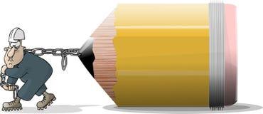 铅笔制帽工人 皇族释放例证