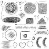 铅笔剪影 手拉的杂文塑造A套乱画线 库存例证