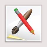 铅笔和刷子 皇族释放例证