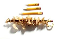 铅笔和削片 免版税库存照片