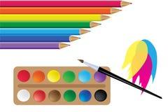 铅笔和油漆颜色彩虹 向量 皇族释放例证