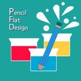 铅笔和烧杯平的设计 免版税库存图片