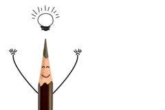 铅笔和电灯泡,概念想法 免版税库存照片