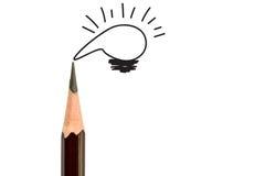 铅笔和电灯泡,概念想法 库存图片