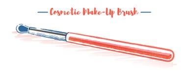 铅笔和织地不很细秀丽器物化妆刷子的样式橙色传染媒介例证 免版税库存照片
