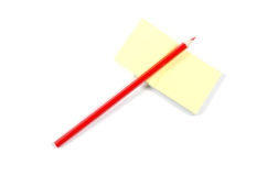 铅笔和贴纸 免版税图库摄影