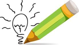 铅笔和Eco电灯泡光 库存照片