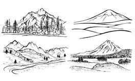 铅笔图山风景,森林杉树, 免版税库存照片