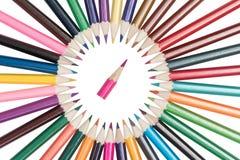 铅笔在圈子被安排 免版税库存照片