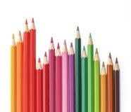 铅笔在白色背景上色 免版税库存图片