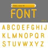 铅笔字体传染媒介。创造性的类型设计。Educatio 库存照片