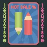 铅笔平的设计象 传染媒介热的销售标签 免版税图库摄影