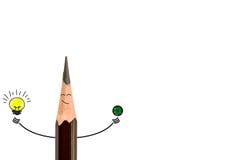 铅笔微笑和电灯泡 概念有想法是 库存图片