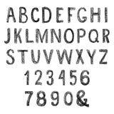 铅笔手拉的字母表 免版税库存照片