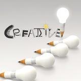 铅笔电灯泡3d和创造性设计的词 向量例证
