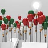 铅笔电灯泡3d认为在箱子外面 免版税库存图片
