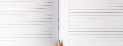 铅笔的点在日志的页的 库存照片