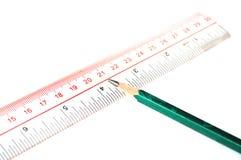 铅笔直尺 免版税库存照片