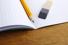 铅笔笔记本和橡皮擦 免版税库存照片