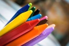 铅笔蜡笔蜡集合 免版税库存照片