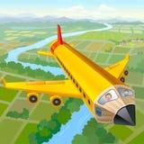 铅笔飞机乘驾的小学生 免版税库存图片