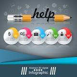 铅笔,教育,帮助,想法象 事务Infographic 免版税库存图片