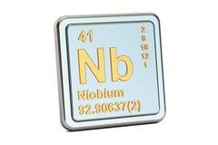 铌Nb,化学元素标志 3d翻译 免版税库存图片