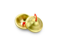 铙钹或Ching,在背景的泰国乐器 免版税库存图片