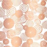 铜上升了织地不很细圈子塑造无缝的传染媒介样式的金箔 在白色背景的发光的金属抽象圈子 典雅 皇族释放例证