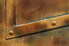 黄铜名牌纹理,老金属背景 库存照片