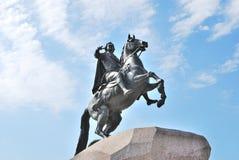 铜御马者彼得斯堡st 库存照片