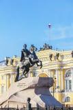 铜御马者-彼得的纪念碑花格,圣彼德堡, Russi 库存图片