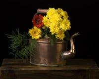铜水壶和花 库存图片