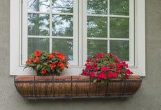 铜窗槛花箱红色和橙色花 免版税库存照片