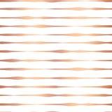 铜箔手拉的水平线无缝的传染媒介样式 在白色背景的罗斯金波浪不规则的条纹 典雅 皇族释放例证