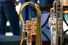 铜管乐器 库存照片