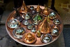 铜罐盘子 图库摄影