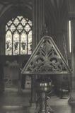 黄铜讲演台侧视图在维尔斯大教堂BW 免版税库存照片